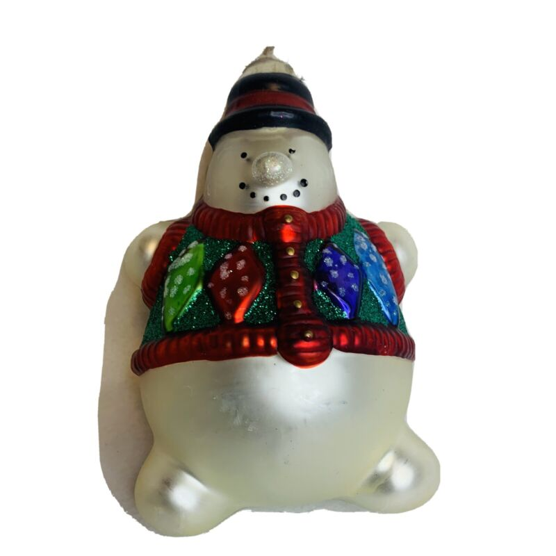 Snowman glass Christmas tree ornament 6 inches heavy red white Green Cute