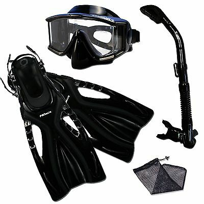- Black Scuba Panoramic Purge Dive Mask Snorkel Fins Dry Gear Bag Set Unisex ML/XL