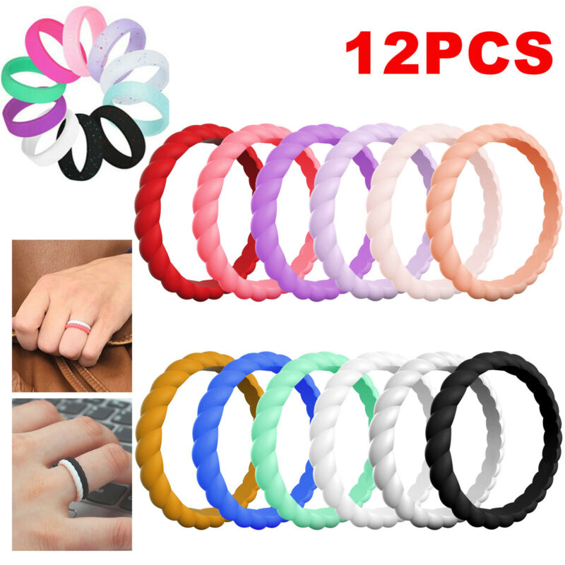12pcs Women Silicone Wedding Band Engagement Ring Rubber Band Gym Sport Flexible