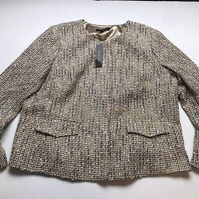 Talbots Woman Size 16W Gold Metallic Weave Tweed Zip Front Blazer Jacket A225