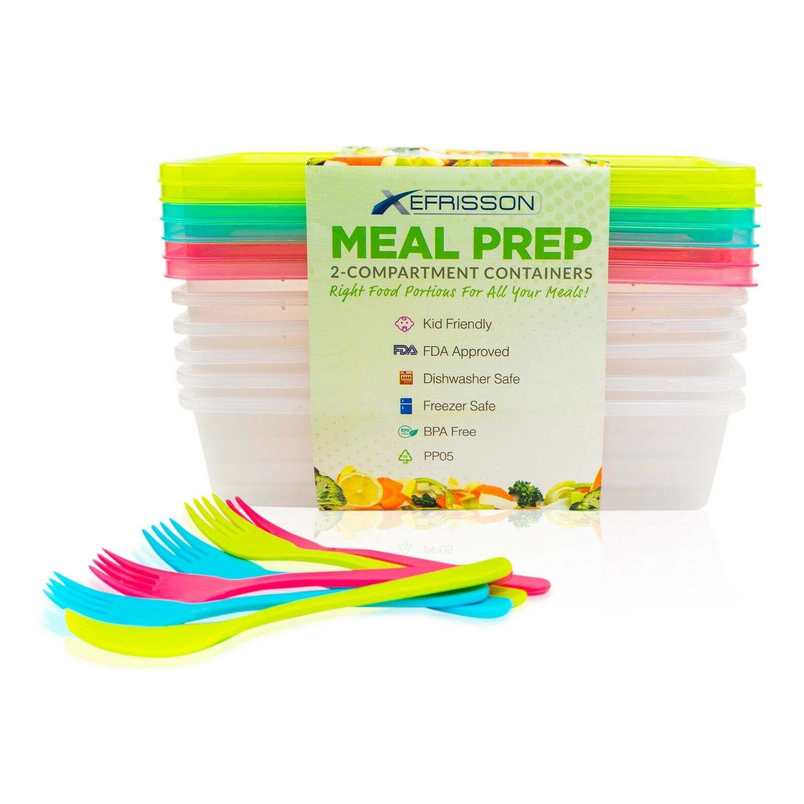 6-Pack Meal Prep Lunch Box Food Containers Set + Free Forks!!!