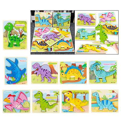 Holz Dinosaurier Puzzles für 1 2 3 jährige Kinder Lernspielzeug