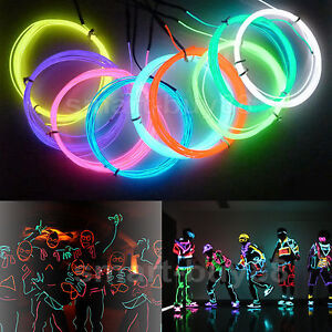 10 colors Flexible Neon Light Glow EL Wire Rope Tube Car Dance Controller 3M 5M