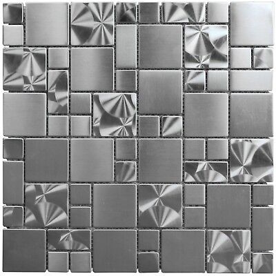 Stainless Backsplash - Swirl French Pattern Brushed Stainless Steel Metal Mosaic Backsplash Wall Tile