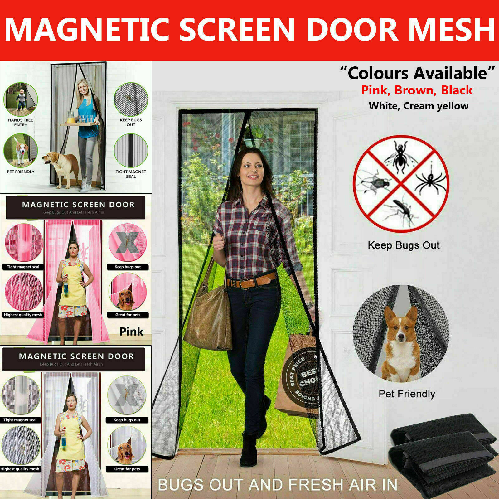 USA Magic Curtain Door Mesh Magnetic Hands Free Fly Mosquito Bug Insect Screen
