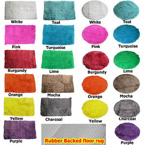 11-Colors-Long-Hair-Faux-Fur-NON-SLIP-RUBBER-BACK-Floor-Rug-ROUND-or-RECTANGLE