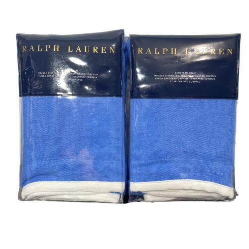 Ralph Lauren Set Of 2 Georgica Branford Euro Pillow Sham Blue White Linen $370 Bedding