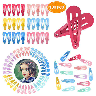 100 Mixed Barrette Snap Hair Clips Hairpin No Slip Accessory