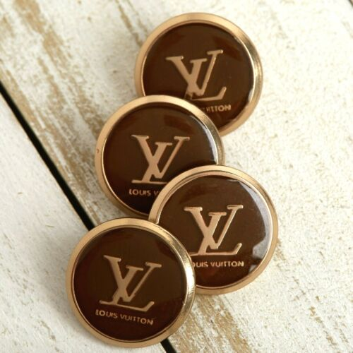 Louis Vuitton STAMPED LV Logo 4pc Buttons 18mm Gold & Brown FREE SHIP!!!