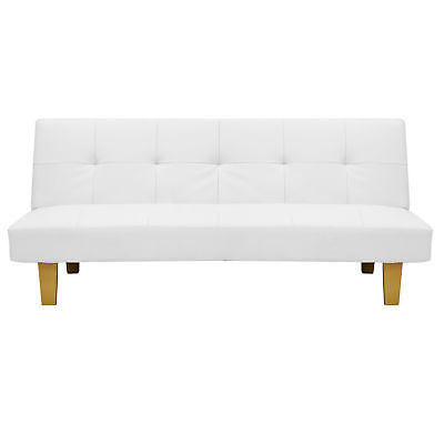 White Convertible Futon Recliner Sofa Guest Bed Faux Leather Wood Frame Couch