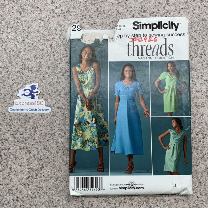 (RN) Simplicity Sewing Pattern 2926 Misses Dress Size K5 8-16 UNCUT FF