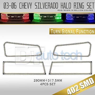 03-06 Silverado Bluetooth Angel Eyes LED RGB Headlight Halo Ring+Turn Signal Set Led Turn Signal Set