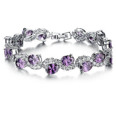 Elegant Damen Armband Zirkonia Lila Kristall Armkette Schmuck Geschenk - S925  (Kristall Schmuck Lila)