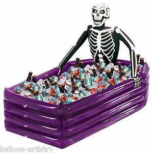 Haunted Halloween Inflatable Skeleton Coffin Grave Drinks Cooler Decoration