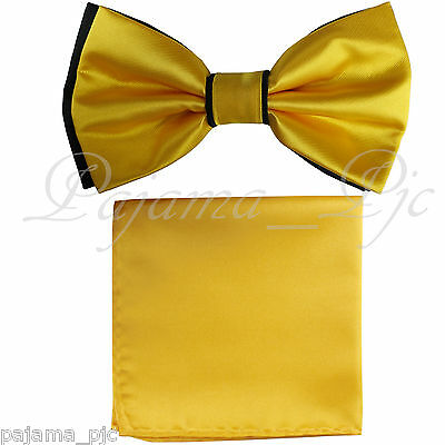 Black And Gold Wedding (Wedding Black Gold Pre-tied Bow tie and Gold Pocket Square Hankie Two)