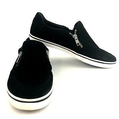 Ralph Lauren Jeorgia Women's Size 9.5 Black Leather Suede Zipper Sneakers Shoes