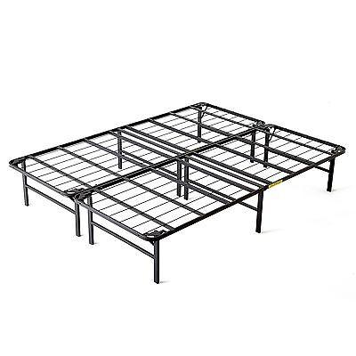 intelliBASE Lightweight Easy Set Up Bi-Fold Platform Metal Bed Frame, King