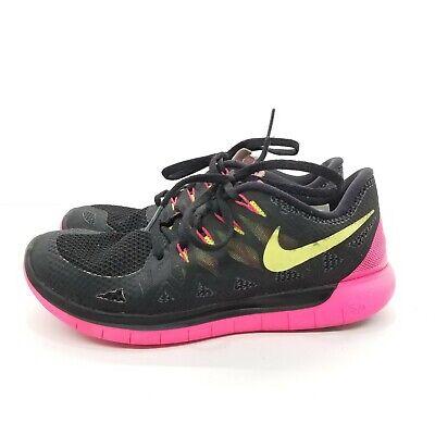 B63 Nike Free 5.0 Black Pink Neon Yellow 642199-002 Athletic Running Shoes Sz 9 ()