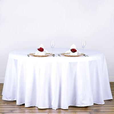 "White 120"" Round Polyester TableclothFor Wedding Party Decor"