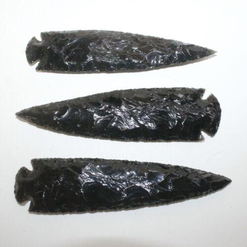 3 Obsidian Ornamental Spearhead  #9417  Arrowhead