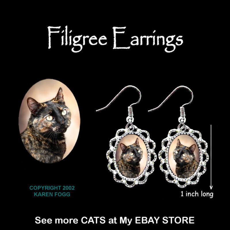 TORTISESHELL SHORTHAIR Cat Tortie - SILVER FILIGREE EARRINGS Jewelry