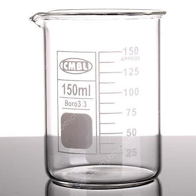 2pcs 150ml Glass Beakerlow Form Gg17 Beakers Wspout Mouthlab Glassware
