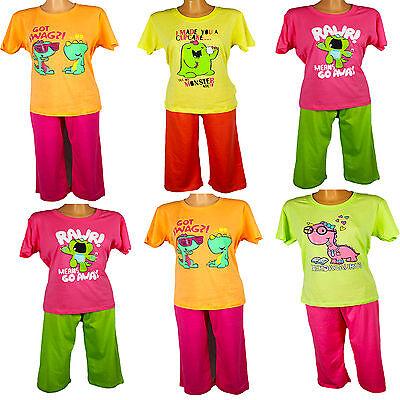 Damen Schlafanzug Bermuda drei Viertel Hose Pyjama  Original NEU