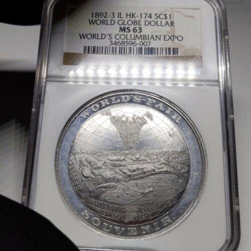 1892-3 MS63 HK-174 World Globe Columbian Expo So Called Dollar SC$1, NGC Graded
