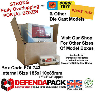 10  EXTRA STRONG Small Cardboard POSTAL STORAGE BOXES for CORGI DINKY MODEL Cars