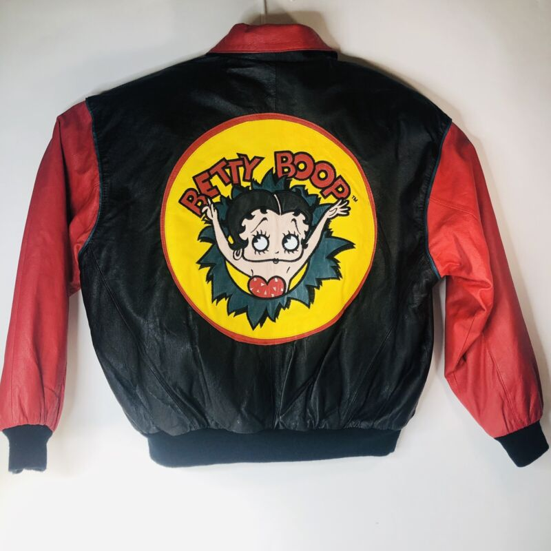BETTY BOOP MOTORCYCLE BIKER  LEATHER JACKET  Made By American Toons Size L WOMEN