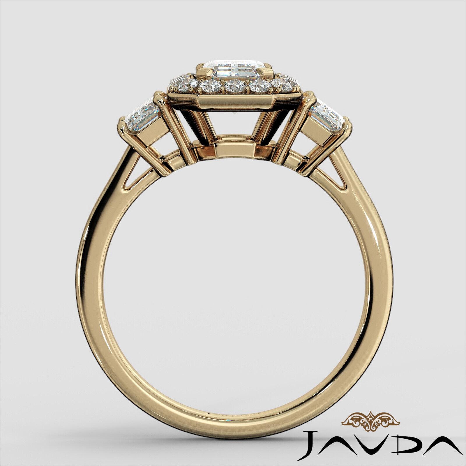 1.55ctw 3 Stone Halo Pave Emerald Diamond Engagement Ring GIA F-SI2 White Gold 11
