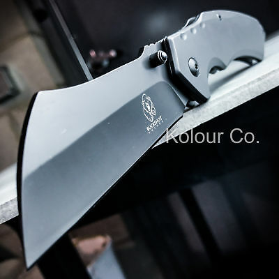 TACTICAL Spring Assisted Open Pocket Knife CLEAVER RAZOR FOLDING Blade Gunmetal