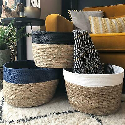 Round Wicker Floor Storage Basket Vintage Style Hamper Trug Rustic Log - Wicker Storage Baskets