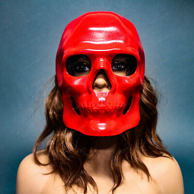 RED Full Face Sugar Skull Mask Halloween Masquerade Day of the Dead Party