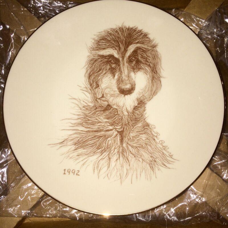 HTF 1992  Laurelwood Afghan Hound  Plate New in Box OOP