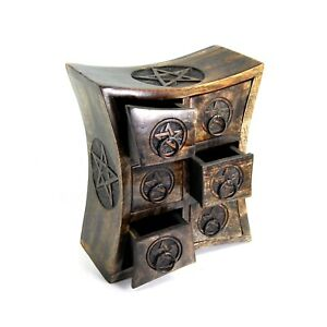 Wicca Pentagram Curved Table Cabinet Chest 6 Drawers Carved Box Jewelry Altar