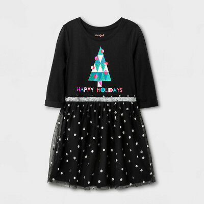 - Girls Glittery Sparkle Happy Holidays LS Black Polk-A-Dot Christmas Tree Dress