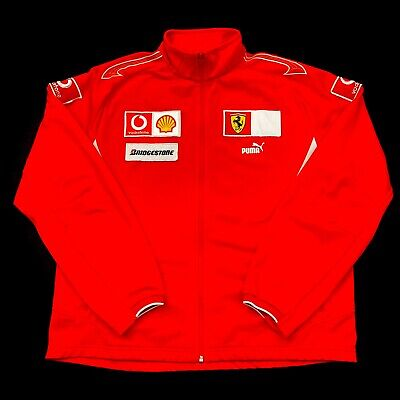Ferrari Puma Racing Jacket Red Patches Spellout Full Zip Shell Bridgestone Sz XL
