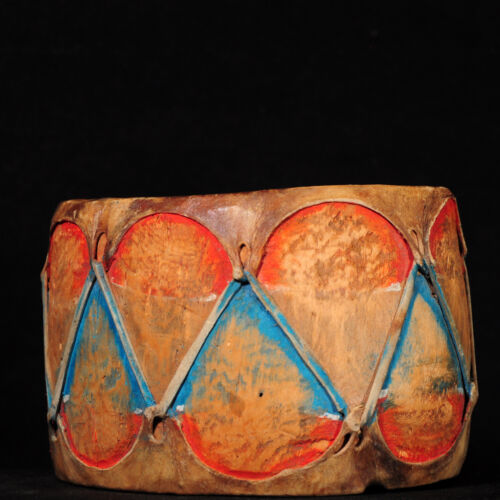 Early 20th Century Polychrome Cochiti Cottonwood & Rawhide Double-Sided Drum
