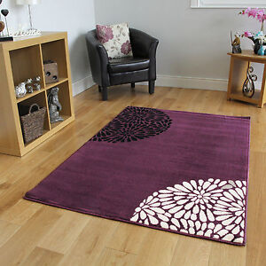 Small-Large-Purple-Aubergine-Modern-Rugs-Quality-Soft-Floral-Living-Room-Rugs-UK