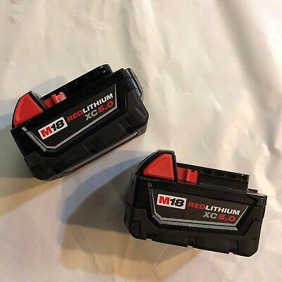 Genuine Milwaukee Lot Of 2 M18 Xc 5 Amp 18v Red Lithium Battery 48-11-1850 New