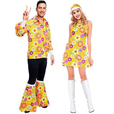 Adult's 1960's Couple Fancy Dress Costume Flower Power Yellow 60's Men's Women's](Power Couple Costumes)