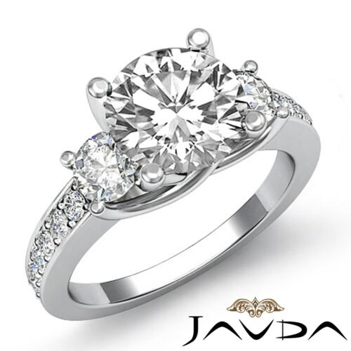 Round Cut Diamond Women's Engagement 3 Stone Ring GIA F SI1 14k White Gold 1.8ct