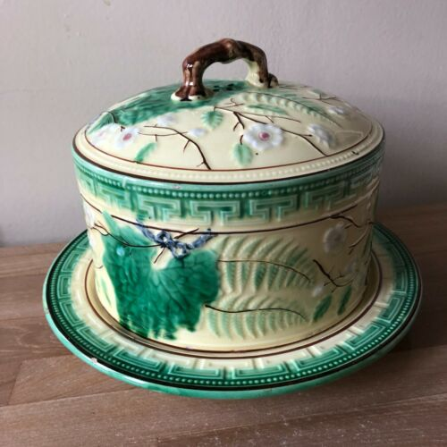 Lovely 19th cent. Large English Majolica Cheese Dome Fern Pattern