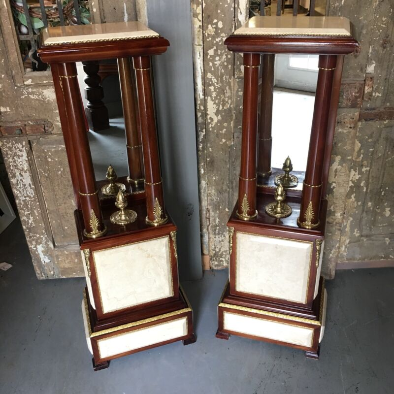 PAIR Mahogany Plant Stands W/ Marble & Bronze Accents Beveled Mirror French