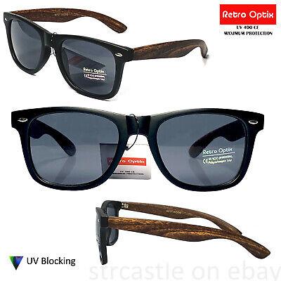 Retro Optics Mens Womens Wayfare Black/Wood Arm Sunglasses (Wood Wayfarer)