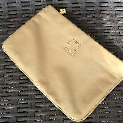 Anne Klein for Calderon Tan Taupe Lt Brown Leather Clutch Purse Zipper Vintage