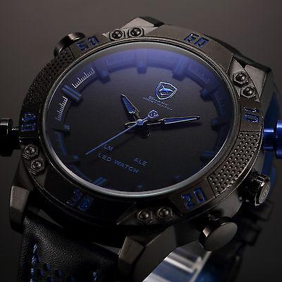 SHARK Luxury Men's Blue LED Digital Date Leather Sport Analog Quartz Wrist Watch