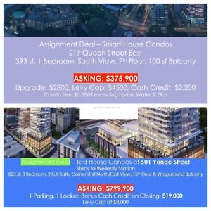 5 DIFF PROJECTS BEST ASSIGNMENT TORONTO DOWNTOWN CONDOS CASHBACK