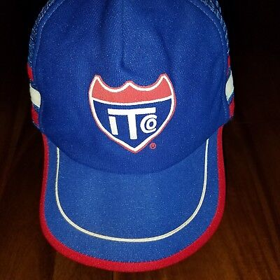 Vtg ITCO Snapback Trucker Hat Side Stripes Mesh Red White Blue Made USA vintage